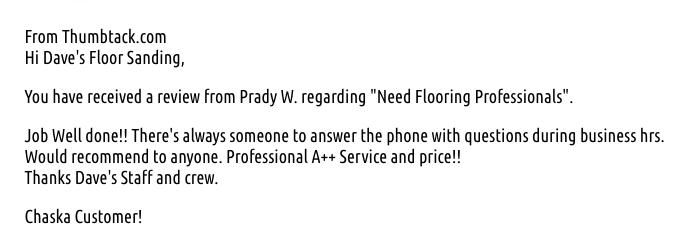 Dave's Floor Sanding & Installing hand written testimonial