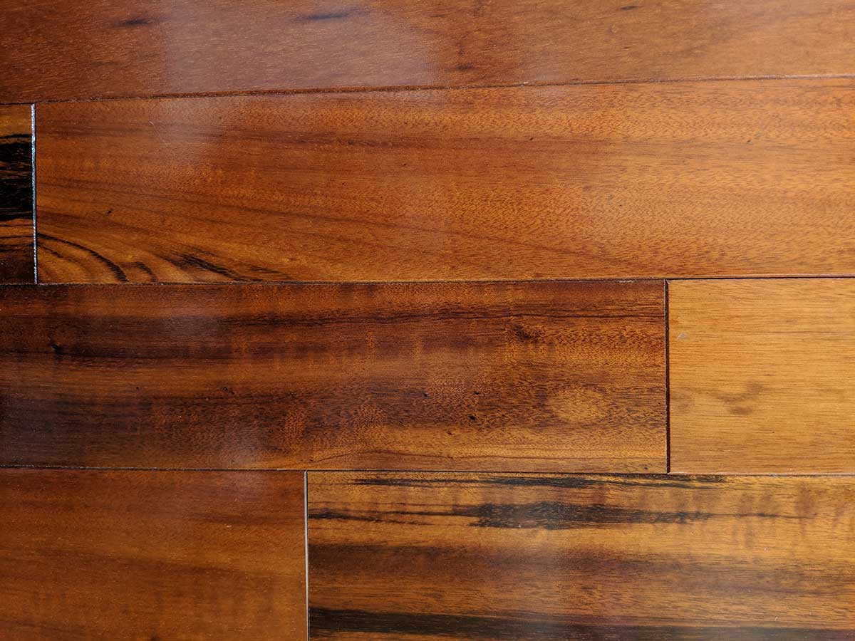Close up of Tigerwood (exotic) wood flooring