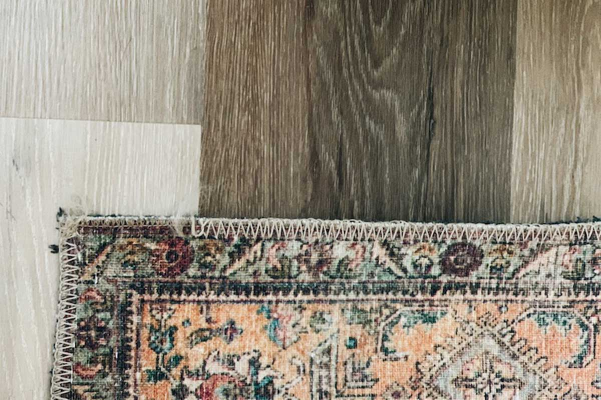 Multi Colored Area Rug On Wood Floor